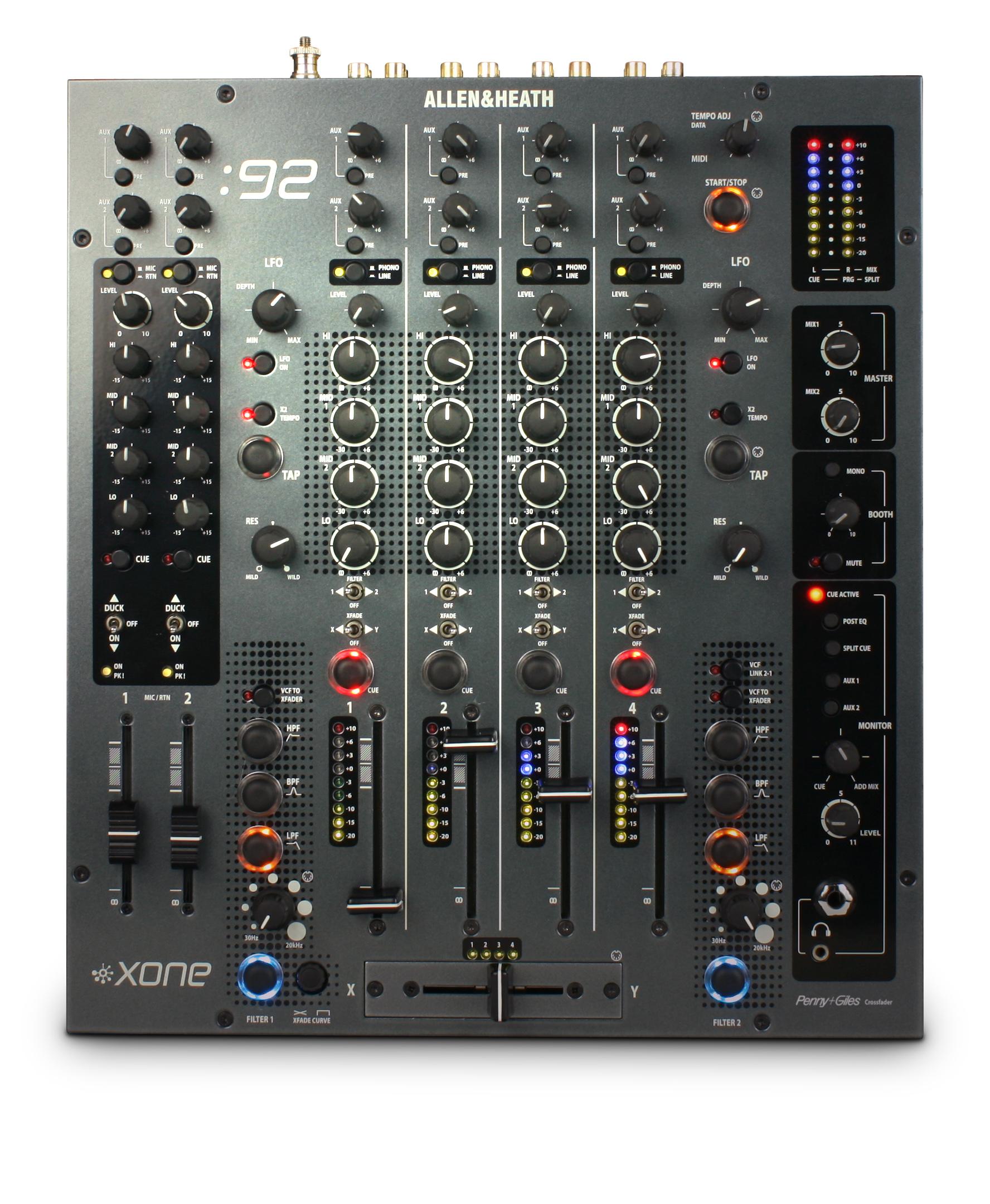 ALLEN & HEATH XONE 92 MIXER PER DJ 6 CANALI 2 AUX 2 OUT INDIPENDENTI 2 VCF