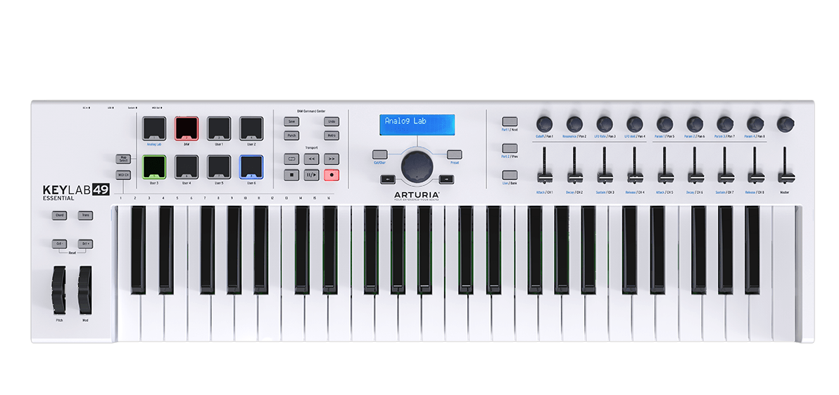 ARTURIA KEYLAB ESSENTIAL 49 CONTROLLER MASTER KEYBOARD MIDI USB 49 TASTI BIANCO + ANALOG LAB + ABLETON LIVE LITE + UVI GRAN PIANO