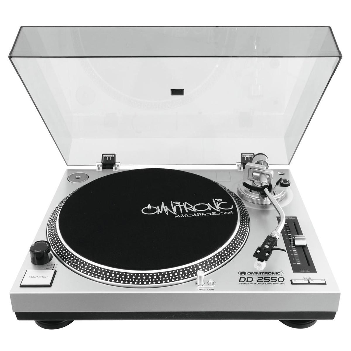 OMNITRONIC DD-2550 USB GIRADISCHI PER DJ TRAZIONE DIRETTA SILVER 1