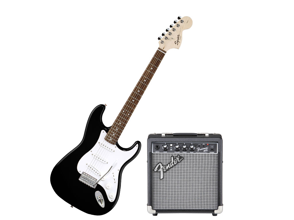 Fender squier affinity pack 10g black pacchetto chitarra for Ganci per appendere chitarre