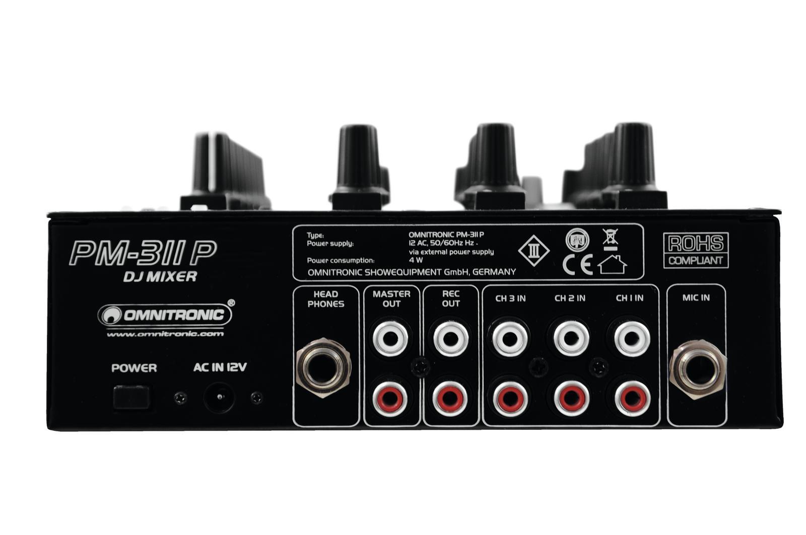 OMNITRONIC PM 311P MIXER DJ 3 CANALI CON PLAYER MP3 USB 1