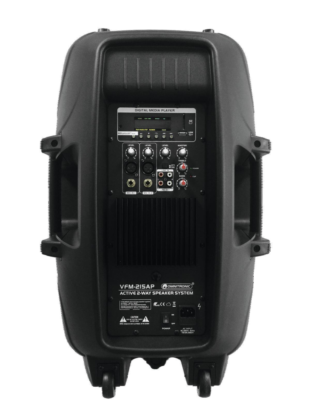OMNITRONIC VFM 215 AP CASSA ATTIVA CON PLAYER MP3 INTEGRATO USB SD BLUETOOTH 1
