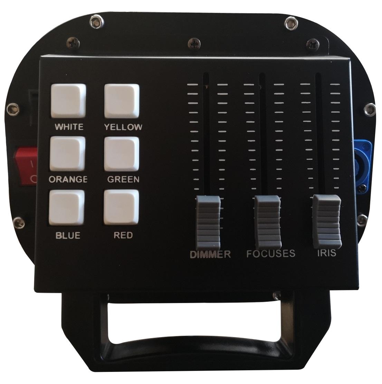 EXTREME FOLLOWER7 FOLLOWSPOT ( OCCHIO DI BUE ) SEGUIPERSONA + SUPPORTO STAND + FLIGHT-CASE OMAGGIO + LAMPADA OSRAM R7 230 WATT – RGBWA FOCUS CONTROLLO MANUALE 1