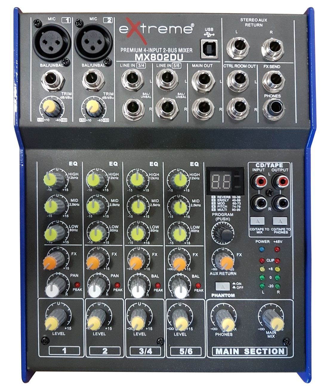 EXTREME MX802DU MIXER 4 CANALI COMPATTO PER LIVE PHANTOM POWER +48V + EFFETTI DSP + USB 0