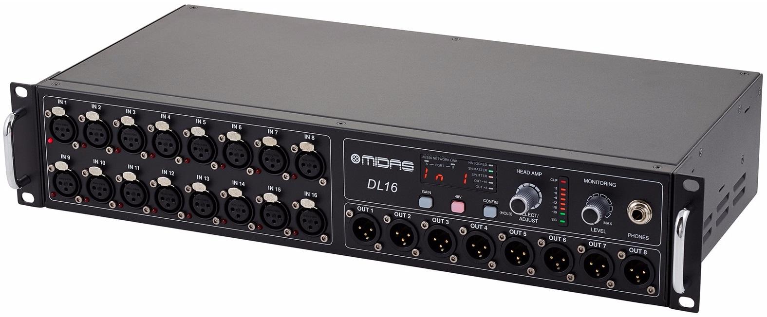 MIDAS DL16 STAGE BOX DIGITALE PER SERIE M32 CON 16 PREAMPLIFICATORI MICROFONICI 8 USCITE XLR OUT ADAT USB AESEBU MIDI 0