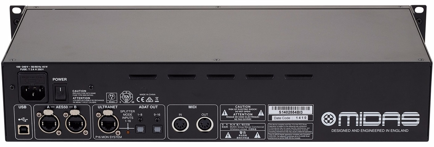 MIDAS DL16 STAGE BOX DIGITALE PER SERIE M32 CON 16 PREAMPLIFICATORI MICROFONICI 8 USCITE XLR OUT ADAT USB AESEBU MIDI 1
