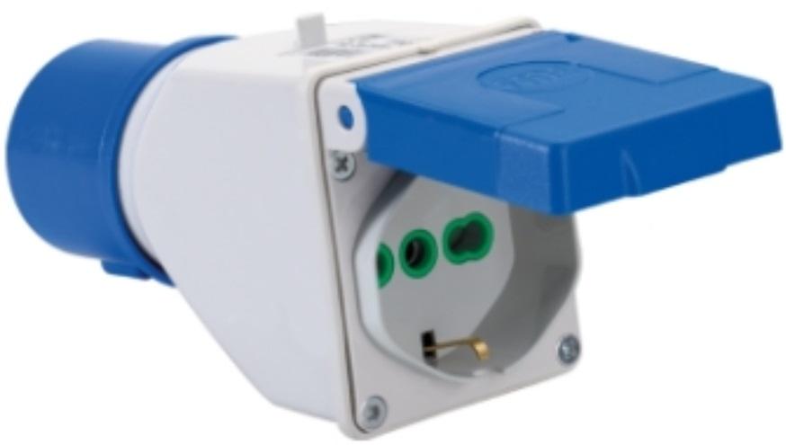 Adattatore corrente da spina cee ip20 16a 2p t 3poli a for Presa schuko collegamento cavi