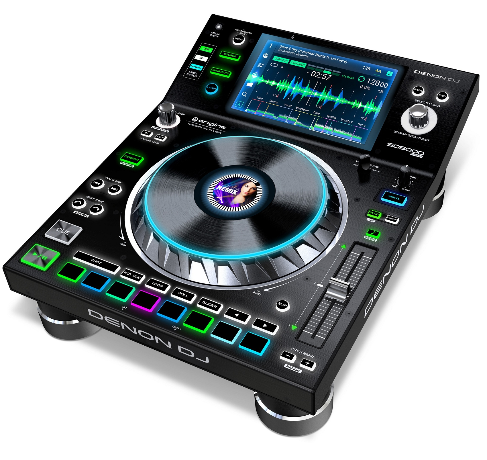 DENON DJ DC5000 PRIME LETTORE MEDIA PLAYER PER DJ USB SD CON DISPLAY HD 7 MULTI-TOUCH 1