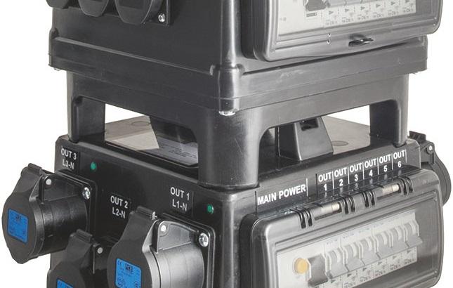 POWER-BOX NERO MADE IN ITALY QUALITA' GOMMA BUTILICA VULCANIZZATA SPINA 32A 5P 6 PRESE CEE 16A 3P DOPPIA PROTEZIONE RCCB 40A + 6 MCB 1