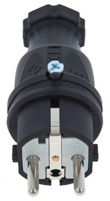 Spina volante PCE Rubber Safety Plug EU B F Bk 16A-3p (1P+N+E) 250V PCE-324015 1