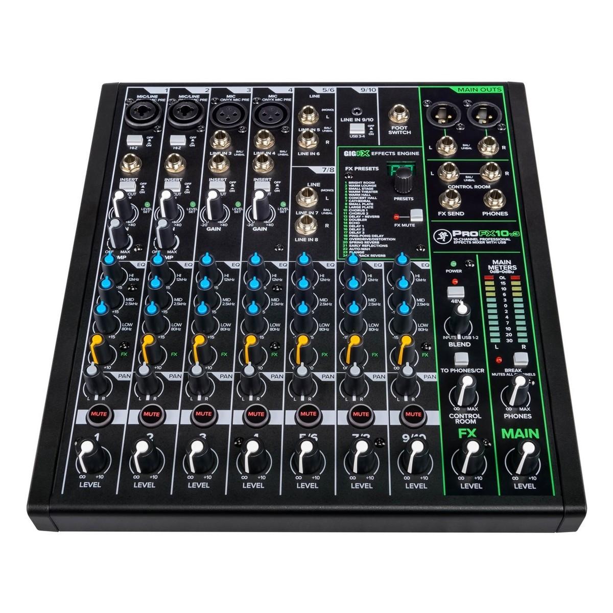 MACKIE PROFX10 V3 MIXER 4 INGRESSI MICROFONICI + 3 STEREO CON EQ 3 BANDE 2 COMPRESSORI E CONNETTIVITA' USB 2