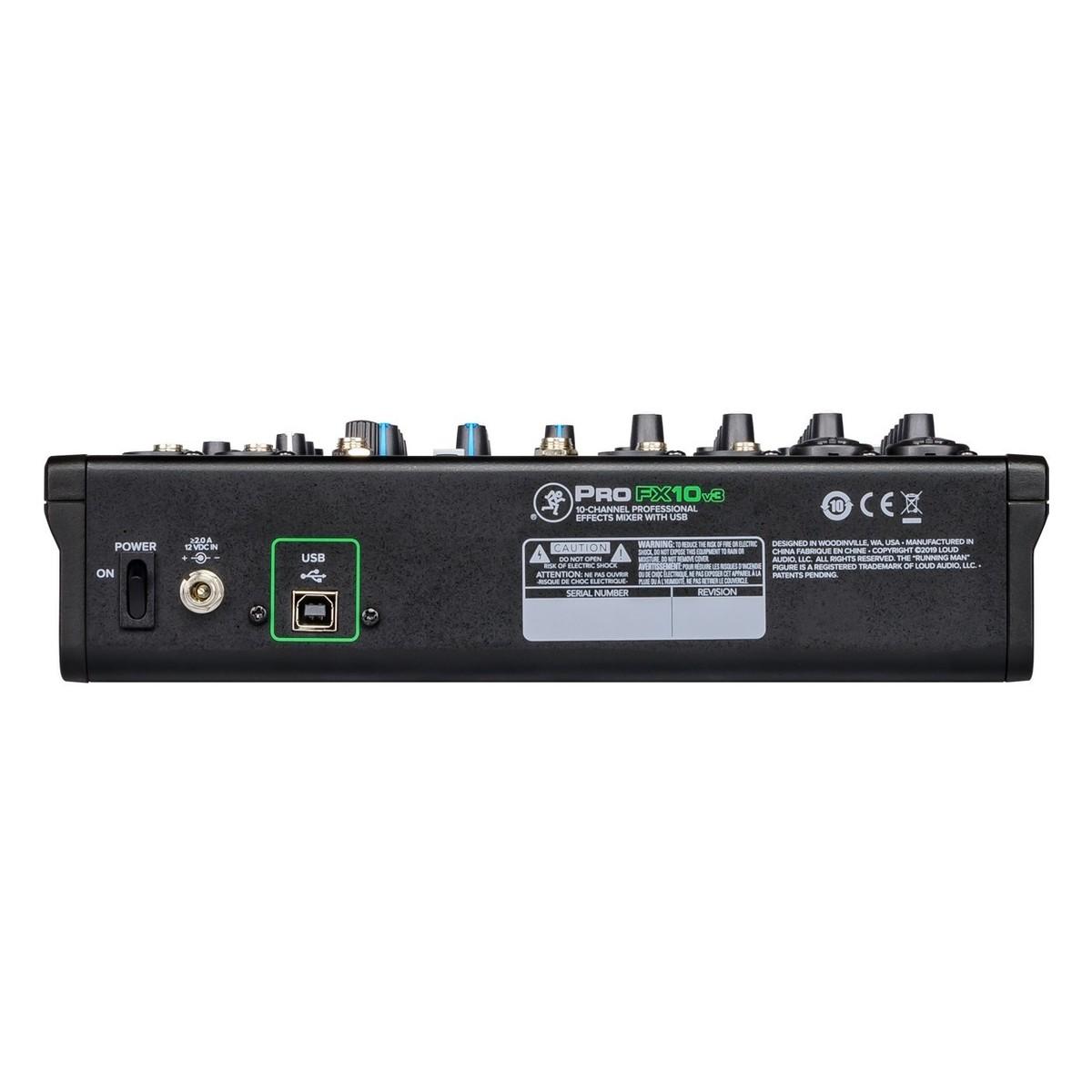 MACKIE PROFX10 V3 MIXER 4 INGRESSI MICROFONICI + 3 STEREO CON EQ 3 BANDE 2 COMPRESSORI E CONNETTIVITA' USB 3