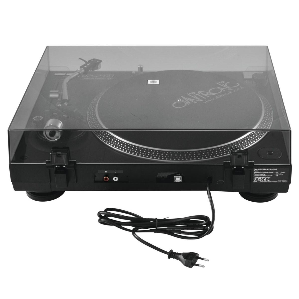 OMNITRONIC DD-2520 USB BLACK GIRADISCHI PER DJ TRAZIONE DIRETTA NERO 3