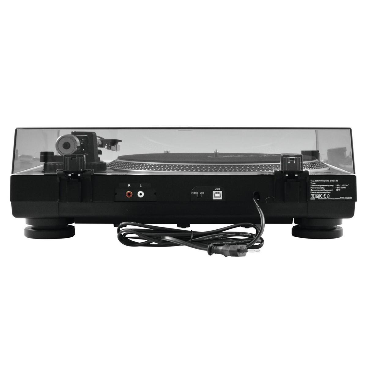 OMNITRONIC DD-2520 USB BLACK GIRADISCHI PER DJ TRAZIONE DIRETTA NERO 5