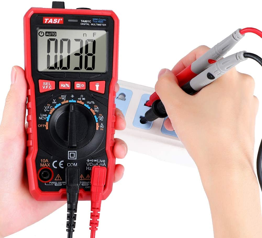 TASI TA801C MULTIMETRO DIGITALE AUTOMATICO LCD TESTER NCV TENSIONE CORRENTE ELETTRICA ACDC 3