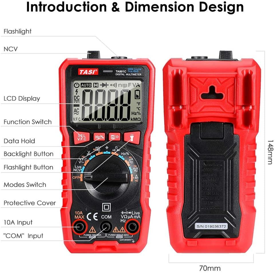 TASI TA801C MULTIMETRO DIGITALE AUTOMATICO LCD TESTER NCV TENSIONE CORRENTE ELETTRICA ACDC 6