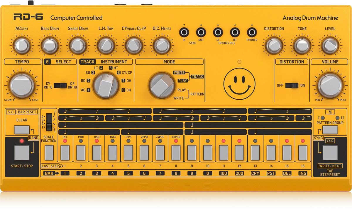 BEHRINGER RD-6 AM SMILEY RHYTHM DESIGNER AMBRA DRUM MACHINE GIALLA
