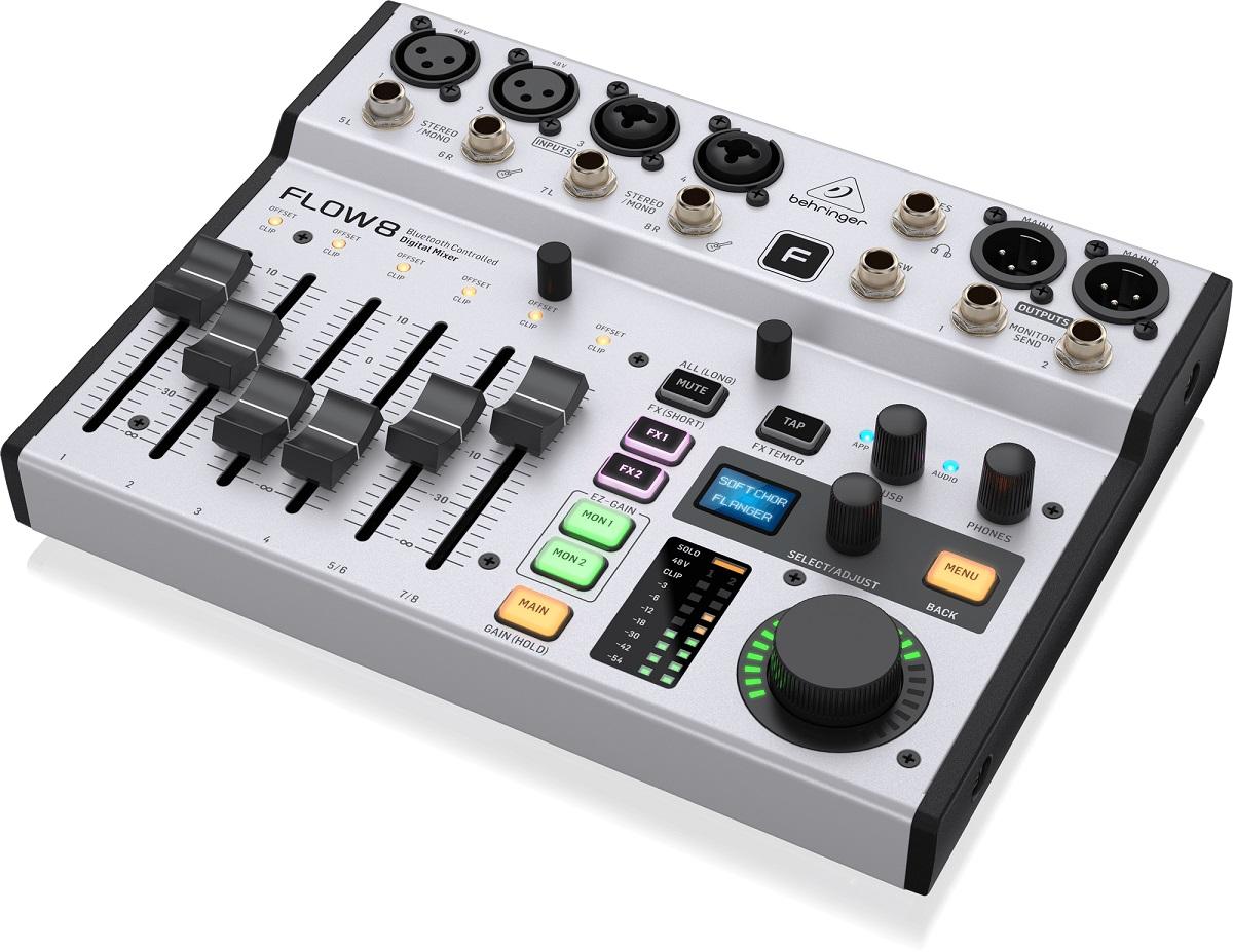 BEHRINGER FLOW 8 MIXER DIGITALE 8 INGRESSI AUDIO BLUETOOTH CONTROLLO APP 2 PROCESSORI EFFETTI USB 1