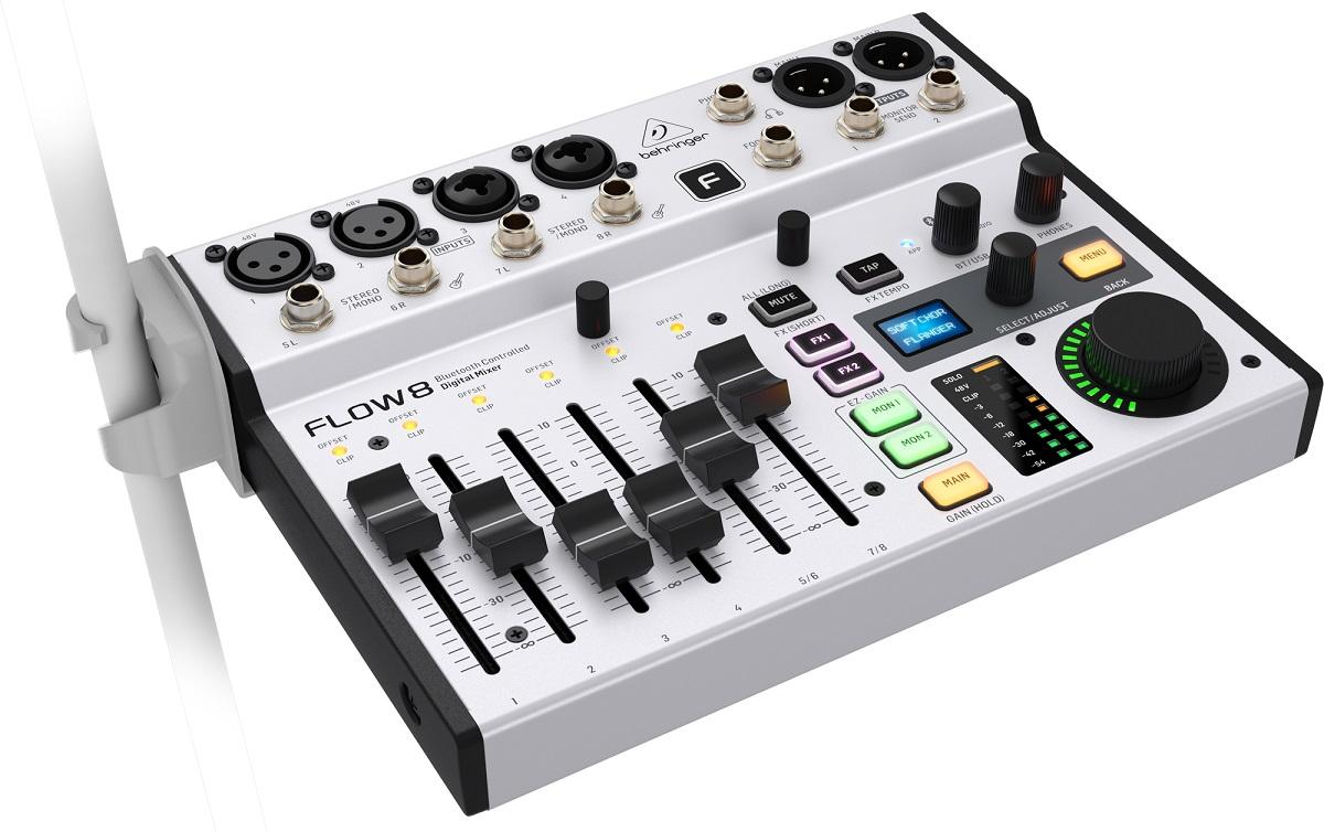 BEHRINGER FLOW 8 MIXER DIGITALE 8 INGRESSI AUDIO BLUETOOTH CONTROLLO APP 2 PROCESSORI EFFETTI USB 3