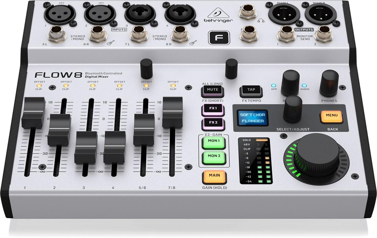 BEHRINGER FLOW 8 MIXER DIGITALE 8 INGRESSI AUDIO BLUETOOTH CONTROLLO APP 2 PROCESSORI EFFETTI USB 4
