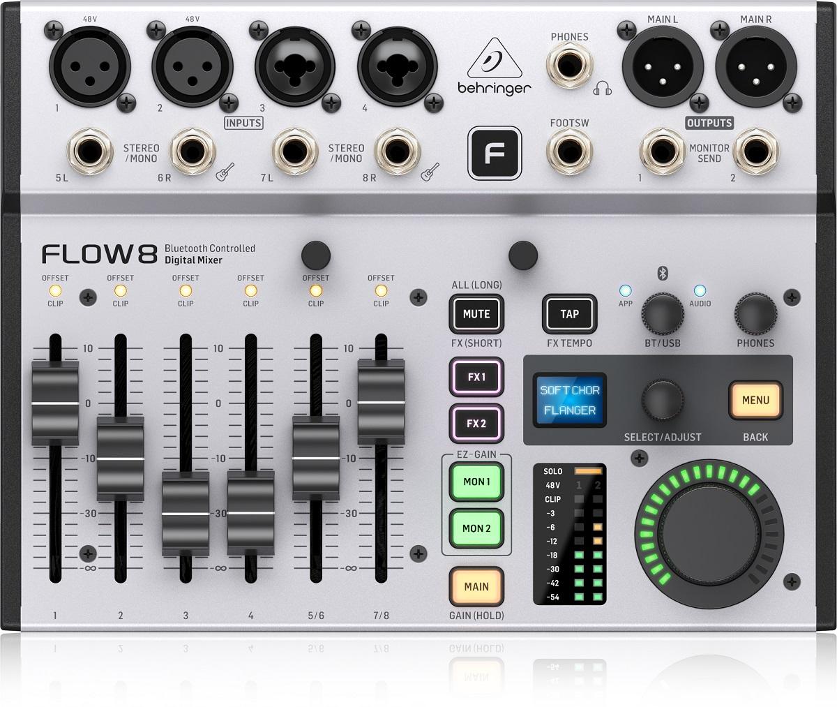 BEHRINGER FLOW 8 MIXER DIGITALE 8 INGRESSI AUDIO BLUETOOTH CONTROLLO APP 2 PROCESSORI EFFETTI USB 5