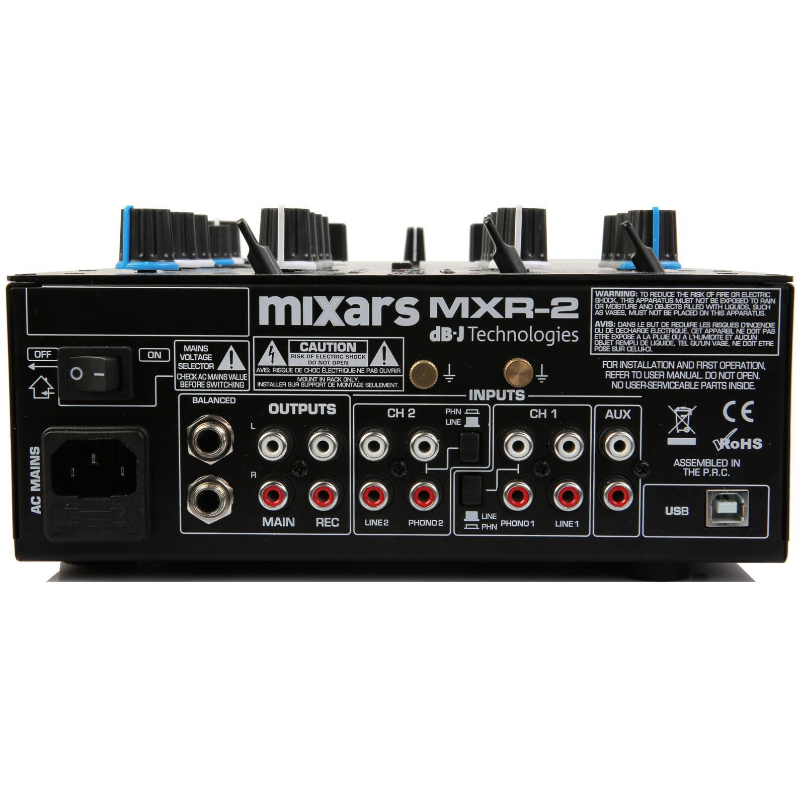 MIXARS MXR2 MIXER DJ 2 CANALI CON EFFETTI E SCHEDA AUDIO 4 IN4 OUT 1