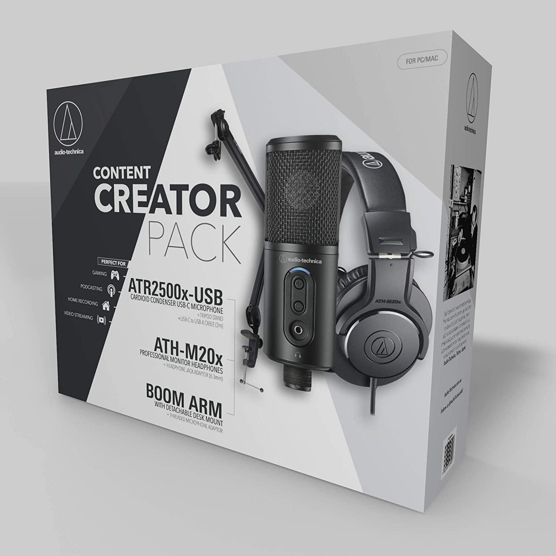 AUDIO-TECHNICA CREATOR PACK MICROFONO STUDIO ATR2500X-USB CUFFIA ATH-M20X BUNDLE 1