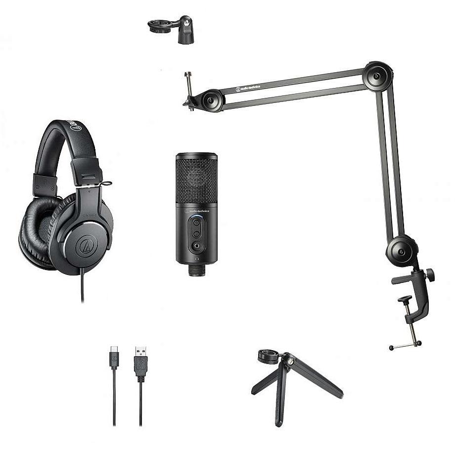AUDIO-TECHNICA CREATOR PACK MICROFONO STUDIO ATR2500X-USB CUFFIA ATH-M20X BUNDLE
