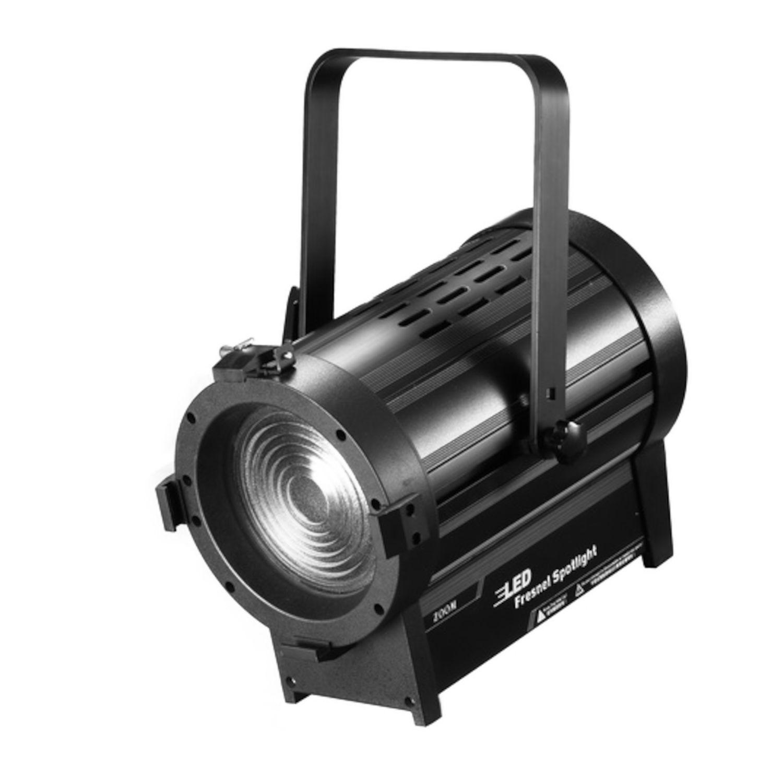 ATOMIC4DJ 61054 SCALA 100 FARO TEATRALE FRESNEL SPOTLIGHT 100 WATT LED WW 3200K – 5000K + BARNDORS 1