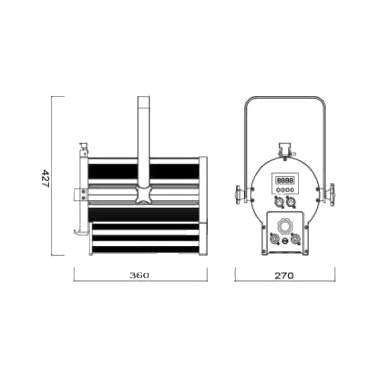 ATOMIC4DJ 61054 SCALA 100 FARO TEATRALE FRESNEL SPOTLIGHT 100 WATT LED WW 3200K – 5000K + BARNDORS 2