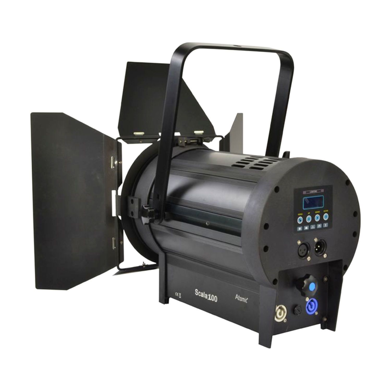 ATOMIC4DJ 61054 SCALA 100 FARO TEATRALE FRESNEL SPOTLIGHT 100 WATT LED WW 3200K – 5000K + BARNDORS 5
