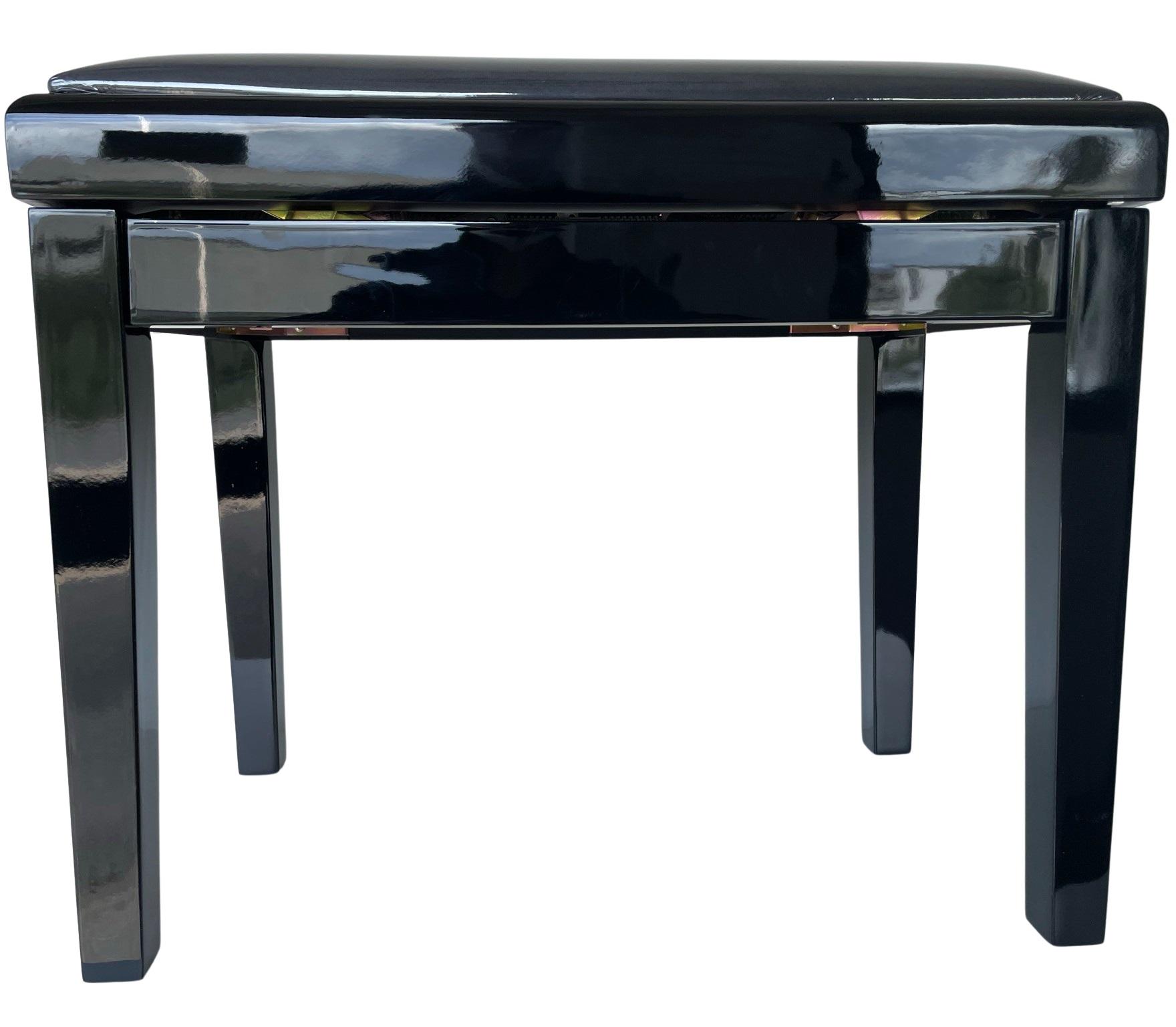 EXTREME PB100BK BLACK PIANO BENCH PANCHETTA PER PIANOFORTE IN LEGNO FINITURA NERA LUCIDA 1