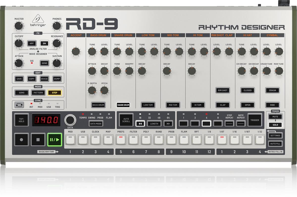 BEHRINGER RD-9 RHYTHM DESIGNER DRUM MACHINE 64 STEP SEQUENCER